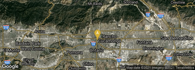 Detail map of Upland, California, United States