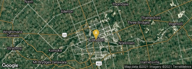 Detail map of London, Ontario, Canada