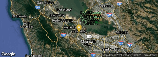 Detail map of Palo Alto, California, United States