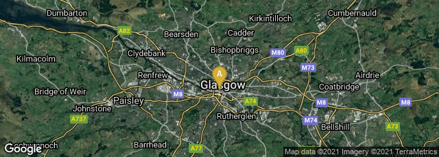 Detail map of Glasgow, Scotland, United Kingdom