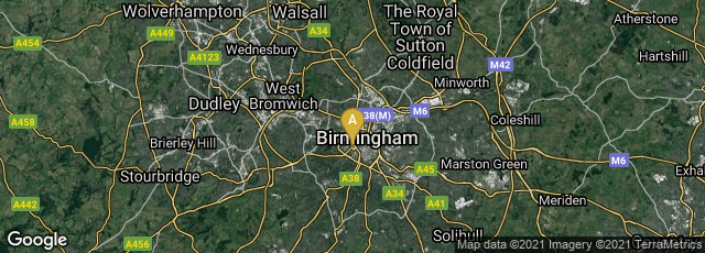 Detail map of Birmingham, England, United Kingdom