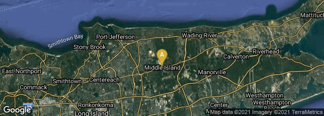 Detail map of Middle Island, New York, United States