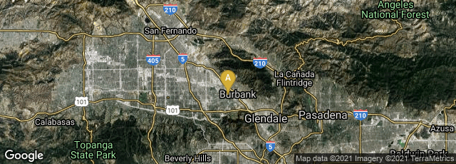 Detail map of Burbank, California, United States