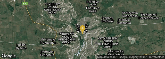 Detail map of Omsk, Omskaya oblast