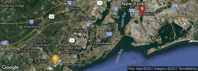 Detail map of Edison, New Jersey, United States,Brooklyn, New York, United States