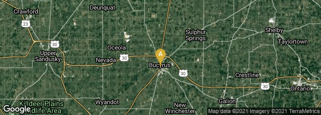 Detail map of Bucyrus, Ohio, United States
