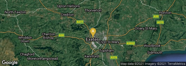 Detail map of Exeter, England, United Kingdom