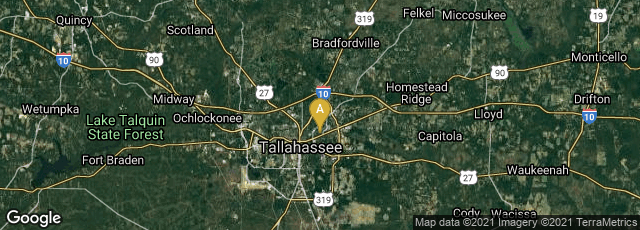 Detail map of Tallahassee, Florida, United States
