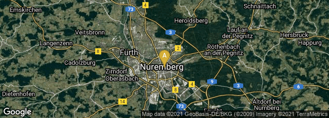 Detail map of Mitte, Nürnberg, Bayern, Germany