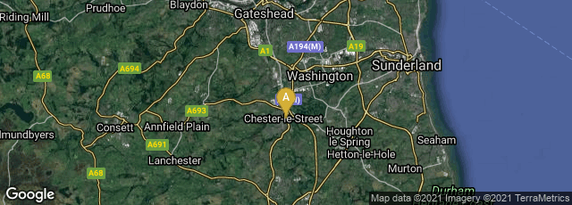 Detail map of Chester-le-Street, England, United Kingdom