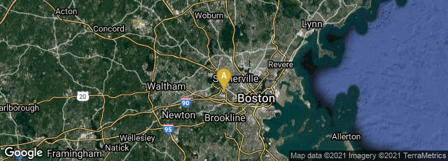 Detail map of Boston, Massachusetts, United States