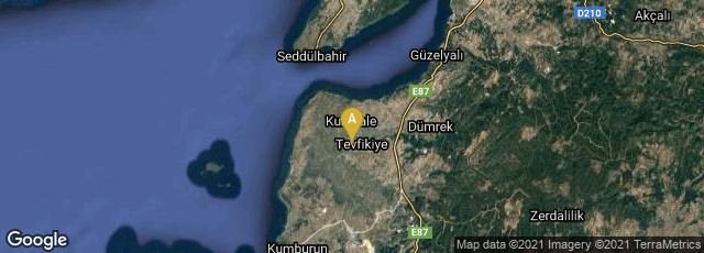 Detail map of Çanakkale, Turkey