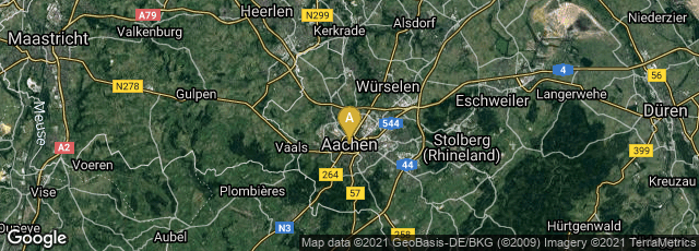 Detail map of Mitte, Aachen, Nordrhein-Westfalen, Germany