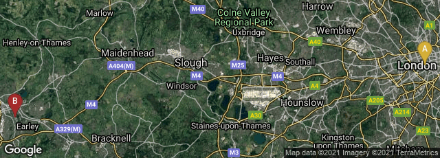 Detail map of London, England, United Kingdom,Earley, Reading, England, United Kingdom