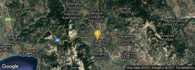 Detail map of Sparti, Greece