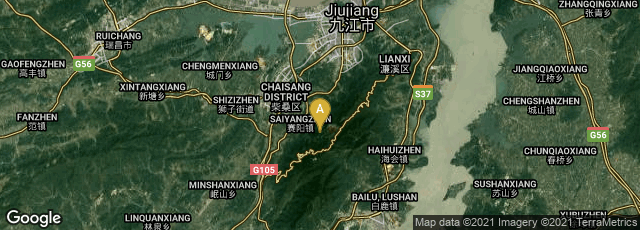 Detail map of Lushan Shi, Jiujiang Shi, Jiangxi Sheng, China