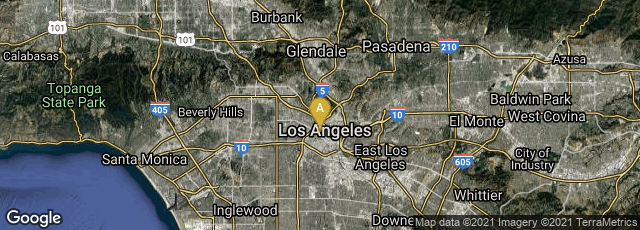 Detail map of Los Angeles, California, United States