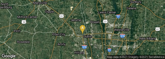 Detail map of Dublin, Ohio, United States