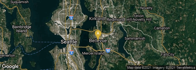 Detail map of Bellevue, Washington, United States