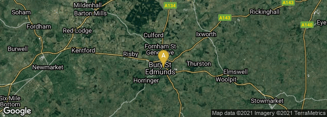 Detail map of The Great Churchyard, Bury Saint Edmunds, England, United Kingdom