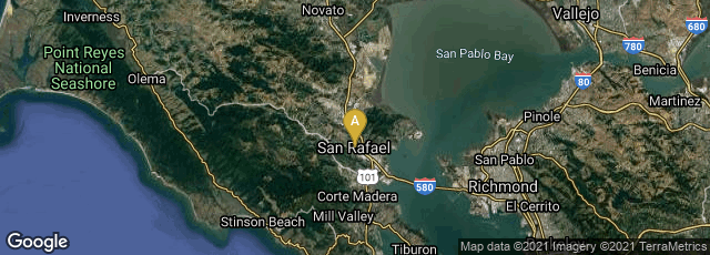 Detail map of San Rafael, California, United States