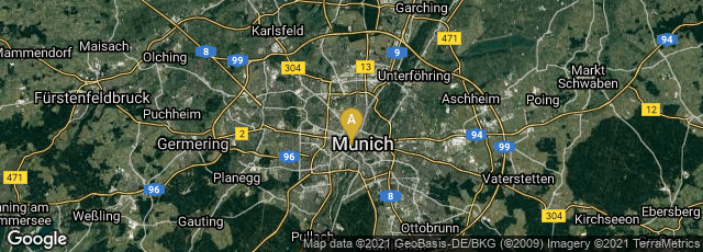 Detail map of München, Bayern, Germany
