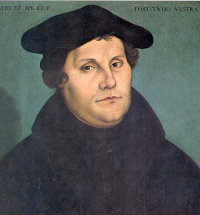 Martin Luther begins the Protestant Reformation in Germany in 1517, the spread of which is largely due to the mass availability of Luther's 95 Theses in German, making the movement of the Reformation 'one of the first in history to be aided by the printing press.' (View Larger)