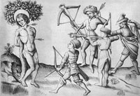 A rendition of the Martyrdom of St. Sebastian by the Master of Playing Cards, preserved at the Metropolitan Museum of Art in New York. (View Larger)