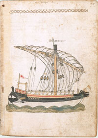 Page 145b of A Mariner's Knowledge, by Michael of Rhodes, depicting a completed galley ship.