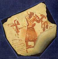 A self-portrait of the scribe Sesh, arms raised in the presentation of a papyrus scroll and possibly a writing palette. Preserved in the Schoyen Collection as MS 1695. (View Larger)