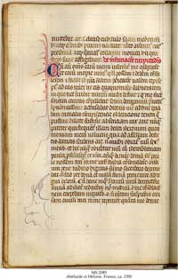 A folio from MS 2085 of the Schoyen Collection, one of the twelve extant manuscripts of the letters of Abelard and Heloise. (View Larger)