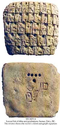 A pictographic list of titles and professions in ancient Sumeria (top), with the scribe's signature on the reverse side (bottom.) (View Larger)