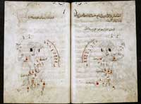 Folios 325r and 326v of MS. Marsh 144, depicting the constellation Orion. (View Larger)