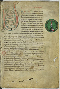 Folio 1r of the 'C' manuscript of the Nibelungenlied. (View Larger)
