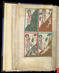 Folio 1v of Omne Bonum upon which is drawn the four scenes of creation: God creating fish; God creating animals; the Creation of Adam; the Creation of Eve. (View Larger)