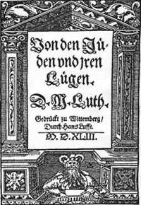 In 1543, Martin Luther publishes the first modern antisemitic work, going so far as to condone the enslavement and murder of Jews, writing that the public is 'at fault in not slaying them.' (View Larger)