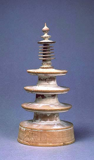 One of one million pagodas commissioned by Empress Shotuku, containing Bhuddhist charms, or dhrani scrolls. (View Larger