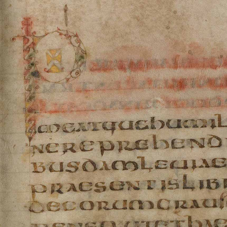 The beginning of Regula pastoralis. The first three lines, in colored ink, have run or faded. (View Larger)