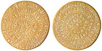 Sides A (left) and B (right) of the Phaistos Disc. (View Larger)