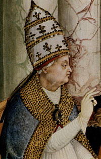 An image of Pope Pius II in blessing, from a biographical fresco in the Cathedral Library of Siena. (View Larger)