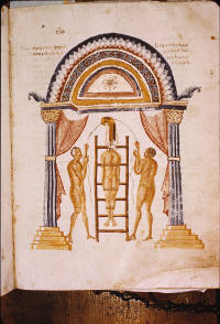 Folio 201r of Florence, Laurentian Pluteus 74.7, depicting an orthopedic procedure involving a ladder and pulley. (View Larger)