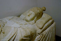 The effigy on pope Boniface VIII, carved into the white marble of his sarcophagus in Saint Peter's Basilica. (View Larger)