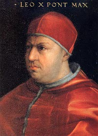 Pope Leo X, famous for later fighting Martin Luther's 95 theses, issued the strictest decree of papal censorship to date in 1515, with the aim of eliminating 'dangerous' texts which were causing evil to propogate 'from day to day.' (View Larger)