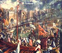 A depiction of the 1204 seizure of Constantinople by Palma le Jeune. (View Larger)