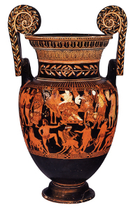 The Pronomos Vase from Naples shows the performers of a Greek satyr play. (View Larger)