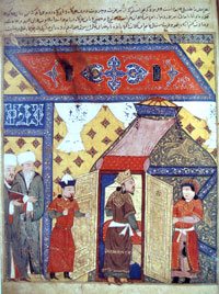A scene from Rashid al-Din Tabib's 'Jami al-Tawarikh' in which the Ghazan Khan is converted to Islam. (View Larger)