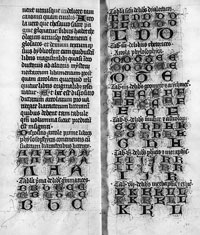 From a late 14th century copy of Richard de Fournival's 'Biblionomia.' A catalog of the section on philosophy, in which books are described by their dimensions. (View Larger)