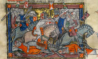 Arthur versus the Saxons as depicted in the Rochefoucauld Grail. (View Larger)
