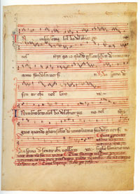 Folio 31r of the Rossi Codex, upon which is written a madrigal entitled 'in un broleto, al'alba.' (View Larger)