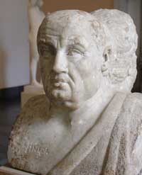 A marble bust of Seneca preserved in the Antikensammlung Berlin. (View Larger)